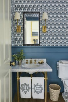 Blue and white powder room with painted wainscot and Meg Braff wallpaper and monogrammed Leontine Linens by Heather Chadduck Interiors at the Southern Living Idea House 2019 Luxury and Cozy Farmhouse Living Room Decor Ideas Powder Room Design, Southern Living Homes, Circa Lighting, Beach House Decor, Home Decor, Beach Houses, Beach House Bathroom, Parisian Bathroom, Of Wallpaper