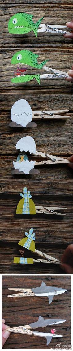 Met karton iets knutselen op een wasknijper. Als je in de knijper knijpt gaat het knutselwerk open.