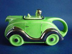 Classic 1930s Art Deco Green Racing Car Teapot By Sadler.