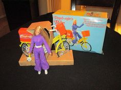 "Vtg Dinah-Mite Mego Bike with BOX & DOLL! 8"" w/ Original Purple Jumpsuit Figure"