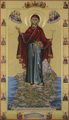 "Mother of God ""Protector of Mount Athos"" Orthodox Icon Byzantine Icons, Byzantine Art, Religious Icons, Religious Art, Greek Icons, Vintage Holy Cards, Angel Pictures, Orthodox Christianity, Catholic Saints"