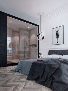 airows: (via Interior Design Inspiration: Dark Moody Bachelor Pad « Airows) House Design, Apartment Design, Home, Home Bedroom, Interior Design Inspiration, Bedroom Design, Decor Interior Design, Luxurious Bedrooms, Modern Apartment
