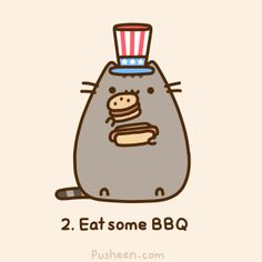 Pusheen's 4th July (animated gif)