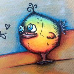 Tim's crazy birds, PanPastels and Caran D'ache Pablo pencils