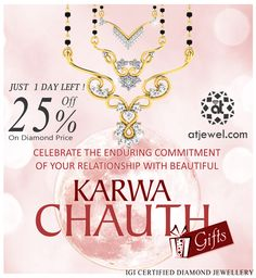 Design Of The Day... Celebrate The Enduring Commitment Of Your Relationship With Beautiful Karwa Chauth. #ATJewel #Diamond #Gold #Mangalsutra  http://www.atjewel.com/mangalsutras