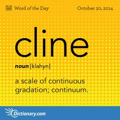 cline \ klahyn \ , noun; 1. Linguistics . (in systemic linguistics) a scale of continuous gradation; continuum. 2. Biology . the gradual change in certain characteristics exhibited by members of a series of adjacent populations of organisms of the same species.