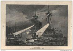 """Torpedo-Angriff    - Druck, entnommen   aus """"die Gartenlaube"""", 1909"""