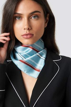 The Striped Satin Scarf by NA-KD Accessories features a trendy printed scarf in a squared design. Silk Neck Scarf, Ways To Wear A Scarf, Neck Massage, Neck Scarves, Sexy Women, Satin, Womens Fashion, Beauty, Corsets