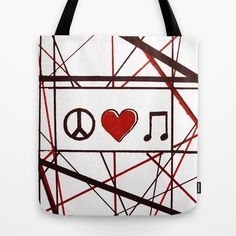 Peace Love Music Tote Bag by MillennialBrake - $22.00