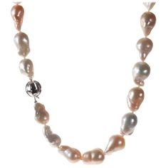 Preowned Baroque Freshwater Cultured Pearl Necklace ($900) ❤ liked on Polyvore featuring jewelry, necklaces, multiple, freshwater cultured pearl necklace, long strand necklace, pre owned jewelry, baroque freshwater pearl necklace and ball necklace