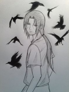 They fucking put 'crows' as caption for this pic.No bitch get ur fact right.This is Uchiha Itachi,the great man from Naruto