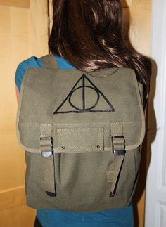 Harry Potter Deathly Hallows Back Pack military style