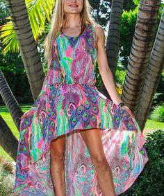 Look at this #zulilyfind! La Moda Clothing Pink Peacock Hi-Low Dress by La Moda Clothing #zulilyfinds