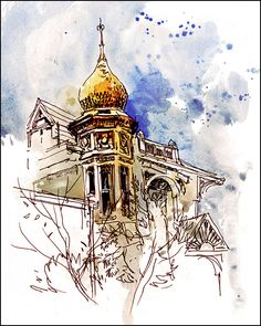 Art Print Watercolor over Pen and Ink by CitizenSketcher on Etsy, $25.00