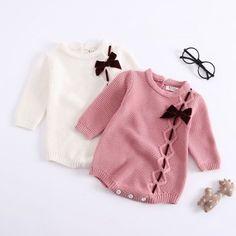 e8a1f771627e Sweet Knitted Bow Decor Long-sleeve Bodysuit for Baby Girl