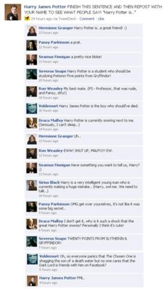 Voldemort is friends with Harry on facebook :o Omg, I just can't XD