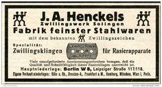 Original-Werbung/Inserat/ Anzeige 1928 - RASIERKLINGEN ZWILLINGSWERK HENCKELS - ca. 100 X 55 mm