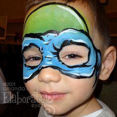 Teenage Mutant Ninja Turtle. (Blue = Leonardo, red = Raphael, orange = Michelangelo, and purple = Donatello)