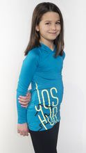 Joshua Perets, Girls, Tweens, Long Sleeves Shirt, Blue with Yellow Logo
