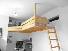 A loft bed tailored to your life – gain space! Mezzanine Bedroom, Loft Room, Bedroom Loft, Attic Bedrooms, Tiny Spaces, Small Rooms, Open Spaces, Dispositions Chambre, Platform Bed Designs