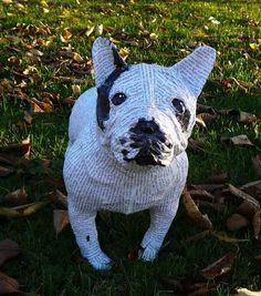 Sculpture Papier Mâché chien bouledogue français fait main création originale pièce unique  : Sculptures, gravures, statues par fimote