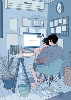 This Korean Artist Giving Serious Through His Illustration Drawing Cute Couple Drawings, Cute Couple Art, Anime Love Couple, Couple Cartoon, Cute Anime Couples, Cute Drawings, Anime Couples Cuddling, Couple Illustration, Character Illustration