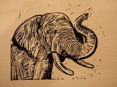 Elephant linocut by Ieuan Edwards. http://www.ieuanedwards.com/ Tags: Linocut, Cut, Print, Linoleum, Lino, Carving, Block, Woodcut, Helen Elstone, Animal, Elephant, Trunk, Safari, Indian, African, Endangered, Ivory.