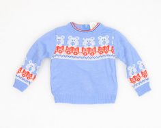 Vintage Baby Sweater Light Blue Red White by ShopTwitchVintage
