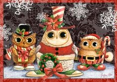 Xmas Owl by Geoff Allen Christmas Owls, Xmas, Christmas Ornaments, Happy Owl, Paper Owls, Wise Owl, Owl Bird, Coloring Book Pages, Winter Theme