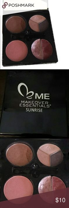 MAKEOVER ESSENTIALS Sunrise Pallet MAKEOVER ESSENTIALS Sunrise Pallet. Used very small amount of bronzer and lip. Missing applicator brushes and pallet Case is cracked where it closes so it will not lock shut. Beautiful colors but Sunset Pallet worked best for my skin tone Makeup