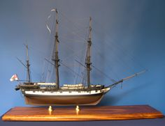 The completed model of HMS Beagle starboard side view