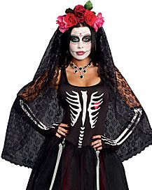 Day of the Dead Headpiece with Veil
