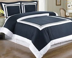 Modern Hotel Style Navy Blue and White Trim Border Frame 100-percent Egyptian Cotton Duvet Cover and Shams Set.  Luxury soft cotton bedding ensemble to create an awesome Hotel 5-stars look in your bedroom.