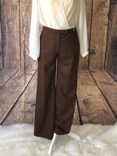 140c36aaef7c J Crew Women s Wide-leg Trouser Casual Dress Pants Size 2 In Brown Wool  Blend