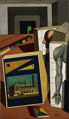 """Giorgio de Chirico (1888-1978) : """"Les Jeux du savant """" ,1917, olio su tela , 89,5x51,4 cm , Minneapolis Institut of Art ."""