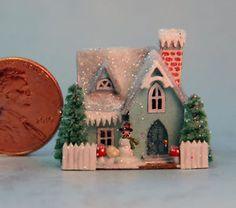 OOAK Miniature Dollhouse Handcrafted Christmas Putz Glitter Cottage House Blue | eBay