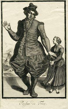 Pieter van den Berge | Boer uit Friesland, Pieter van den Berge, in or after 1694 - 1737 | Een boer uit Friesland staat met een meisje bij de haven. Prent uit een serie van 6 prenten met dorpelingen die klederdrachten dragen.