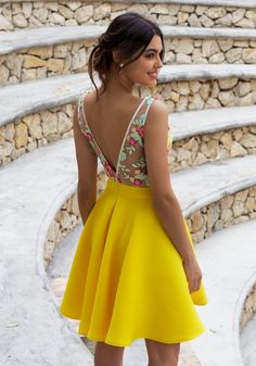 Illusion Back Floral Embroidery Daffodil Homecoming Dress - Yellow Dresses - Ideas of Yellow Dresses - Fashion Forward Yellow Party Dresses Floral Formal Dresses for Teens Plus Size Hoco Dresses Best Formal Dresses, Dresses Short, Hoco Dresses, Dresses For Teens, Floral Dresses, Elegant Dresses, Sexy Dresses, Wedding Dresses, Lace Dresses