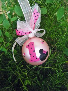 Minnie Mouse Birthday Ornament  - Personalized Babys First Birthday - Hand Painted Glass Ball on Etsy, $18.00
