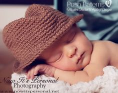 Crochet PATTERN - Baby Fedora Little Man Hat Cowboy Crochet Hat attern - Instant Downloaed PDF 204 - Newborn to Adult - Photo Prop Pattern