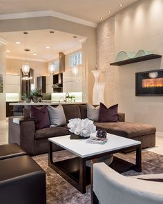 Decorative Chocolate Brown Couch Image Gallery in Living Room Contemporary design ideas with Decorative Barbara Rooch contemporary elegant naples refined soothing SWFL tranquil Understated unique upscale