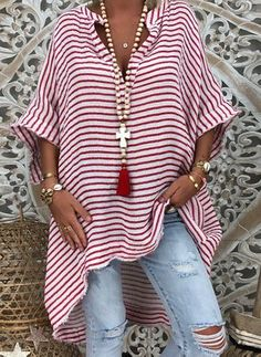 Plus Size Stripe V-Neckline Casual Shift Blouses Sleeves Plus Blouses Fashion girls, party dresses long dress for short Women, casual summer outfit ideas, party dresses Fashion Trends, Latest Fashion # Mode Hippie, Mode Abaya, Look Fashion, Womens Fashion, Fashion Art, Retro Fashion, Fashion Online, Fashion Ideas, Fashion Tips