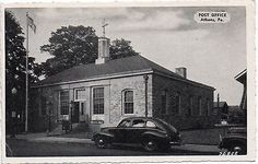 Postcard-PA-Pennsylvania-Athens-Post-Office-1930s-40s-Bradford-County