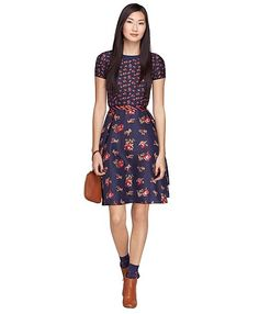 A silk fit and flare dress is our new fall floral fixation.