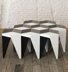 Alvaro Catalán de Ocón design studio, based in Madrid, Spain, has created the geometric-inspired Rayuela stool that when grouped together creates an eye-catching visual effect.
