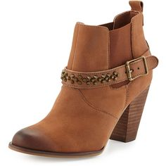 Steven By Steve Madden Selinna Studded Nubuck Bootie ($54) ❤ liked on Polyvore featuring shoes, boots, ankle booties, ankle boots, cognac lea, studded ankle booties, buckle ankle boots, buckle ankle booties, stretch boots and stacked heel bootie
