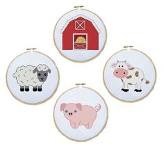 Cross Stitch Pattern of Cute Farm Animals - Cow, Pig, Sheep and Barn #xstitch #crossstitch by threadsandthings1 on Etsy