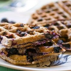 Blueberry Oatmeal Waffles--to make with choc chips--leave out allspice, add cinnamon; also use half white and half wholewheat and add flaxseed.