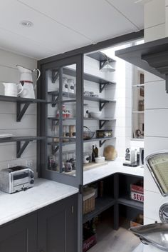 Whether you are building up a new kitchen or remodeling the existing one, kitchen pantry ideas reference would be very helpful. Kitchen pantry will not only help you organize the. Kitchen Pantry Design, Kitchen Shelves, Diy Kitchen, Kitchen Interior, Kitchen Storage, Kitchen Pantries, Kitchen Decor, Bakery Shop Interior, Kitchen Ideas