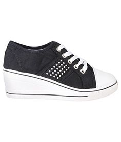 US Womens Gem Canvas High Heel Wedge Sneakers Low Top Lace Up Shoes KRISP http://smile.amazon.com/dp/B011J2PZY8/ref=cm_sw_r_pi_dp_0hE-vb17BQ2K5